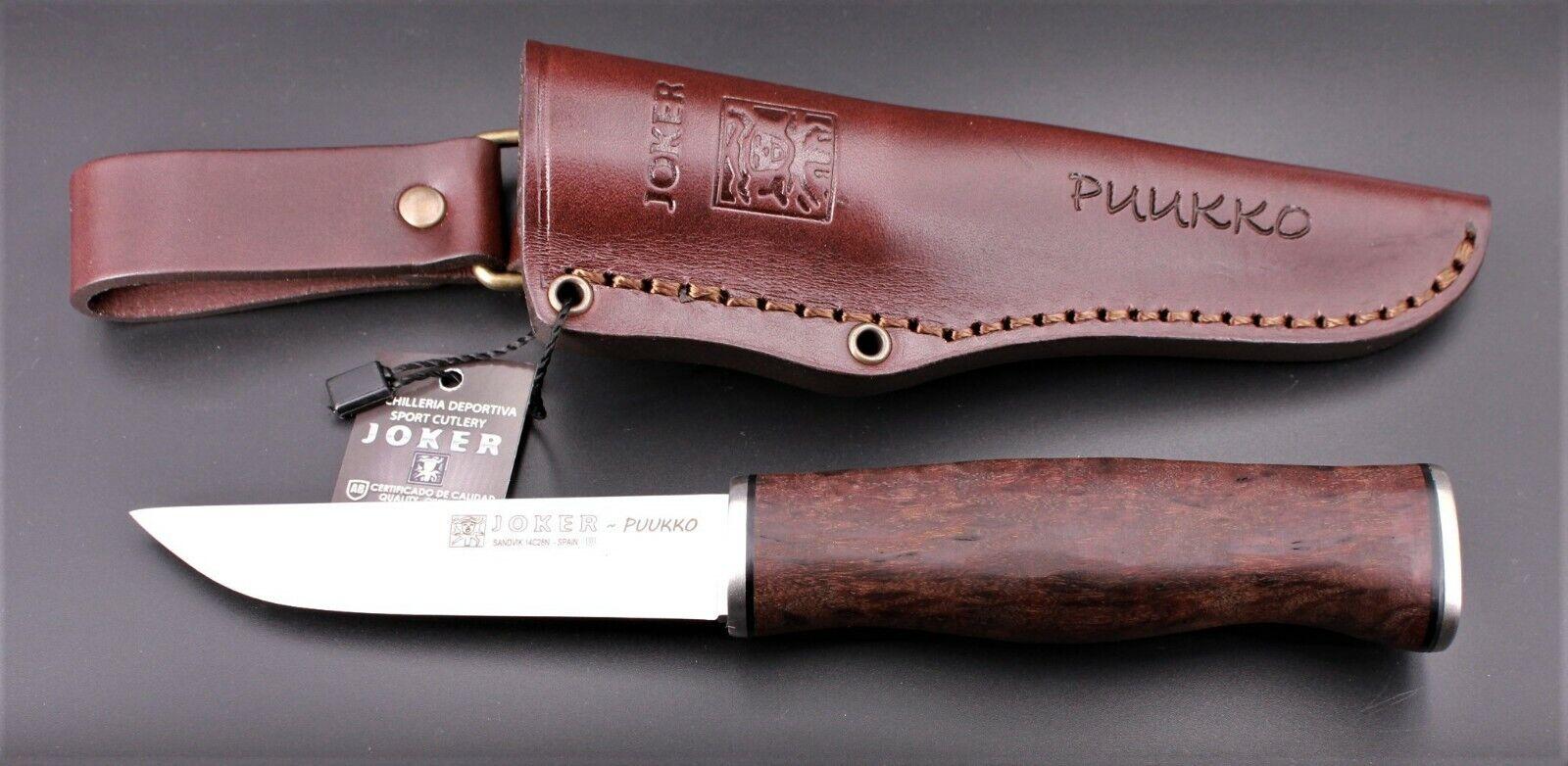 JOKER Puukko CL130 Maserbirke gebeizt Lederscheide Messer Jagdmesser