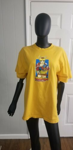 Hook Ups Skateboard t-shirt/Yellow/Large/Vintage/1