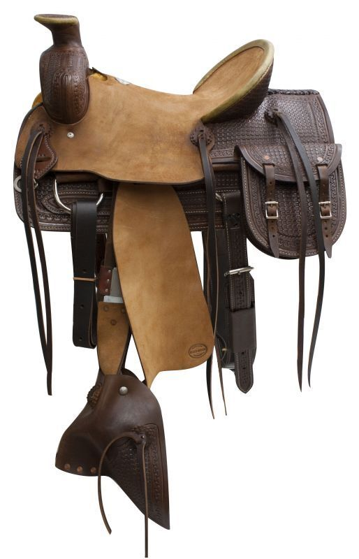 16  bluee River roper saddle with tapederos and saddle bags.