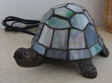 VINTAGE CAST IRON STAINED LEAD GLASS TURTLE TABLE LAMP NIGHT LIGHT TIFFANY STYLE