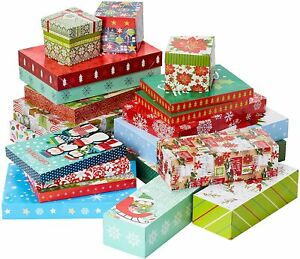 Patron-De-Navidad-Premium-20pc-paquete-grande-caja-de-regalo-con-tapa-5-Tamanos-Surtidos