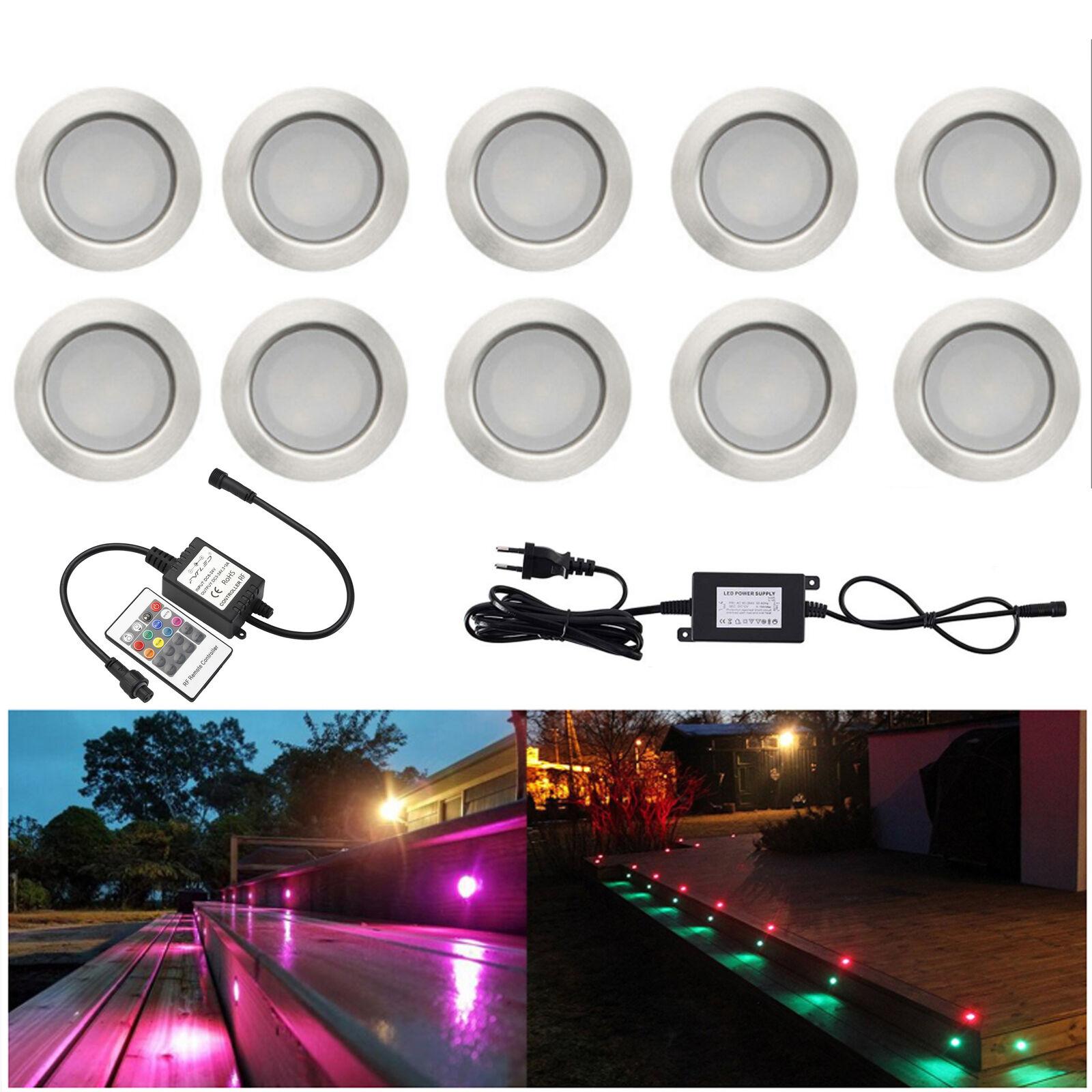 10er 45mm RGB LED Bodeneinbaustrahler Garten Außen Lampe Spot Einbauleuchte 5W