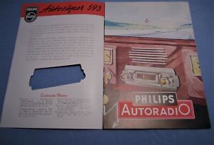 PHILIPS-AUTORADIO-PROSPEKT-von-1951-MERCEDES-BENZ-170V-OPEL-KAPITAN-FORD-50