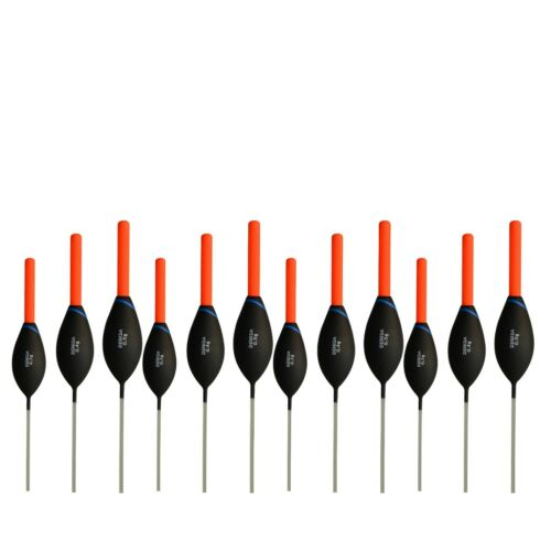 different SIZES and LOTS Denisa DC8 POLE FLOATS in new TACKLE BOX