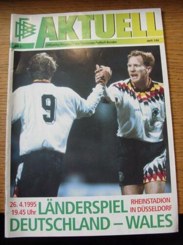 26041995 Germany v Wales In Dusseldorf . Any faults with this item will hav