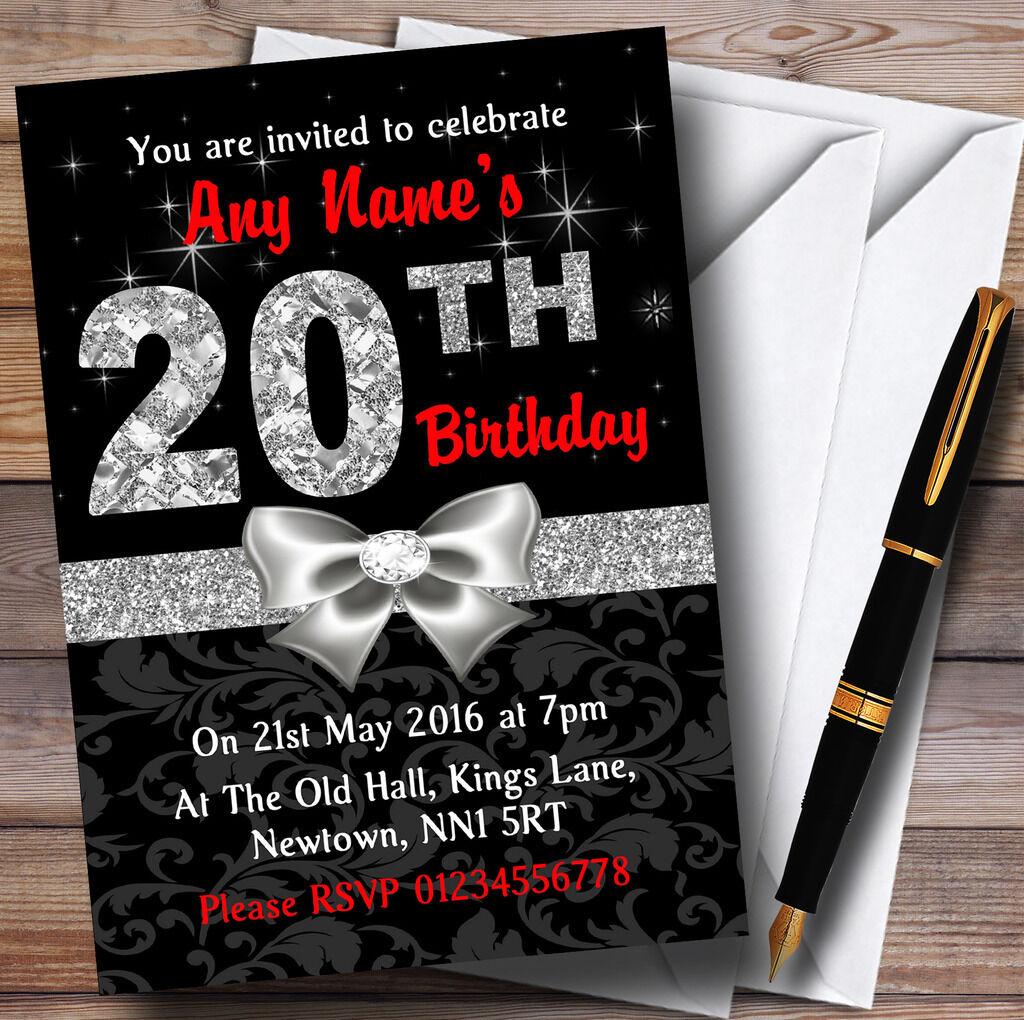 Rojo Negro Plata Diamante Xx Fiesta De Cumpleaños Personalizadas Invitaciones