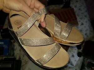 Fitflop size 4 Z Cross crystal rose gold backstrap Sandals hardly used boxed