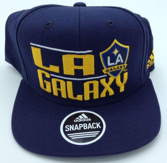 07538b4a1ce27 MLS L.A. Galaxy Adidas Strucured Flat Brim Snap Back Hat Cap Beanie  VS80Z  NEW