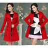 elegant Women Wool coat Double Breasted warm Jecket long outwear Red