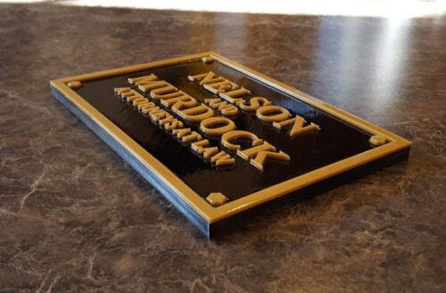 Daredevil Inspired Nelson and Murdock Attorney Sign Plaque Replica