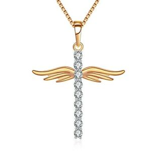18k Yellow Gold Made With Swarovski Crystal Cross Angel Wings