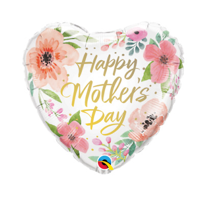 Party Supplies Mother's Day Mum Mom Pink Floral Heart 45cm Foil Balloon
