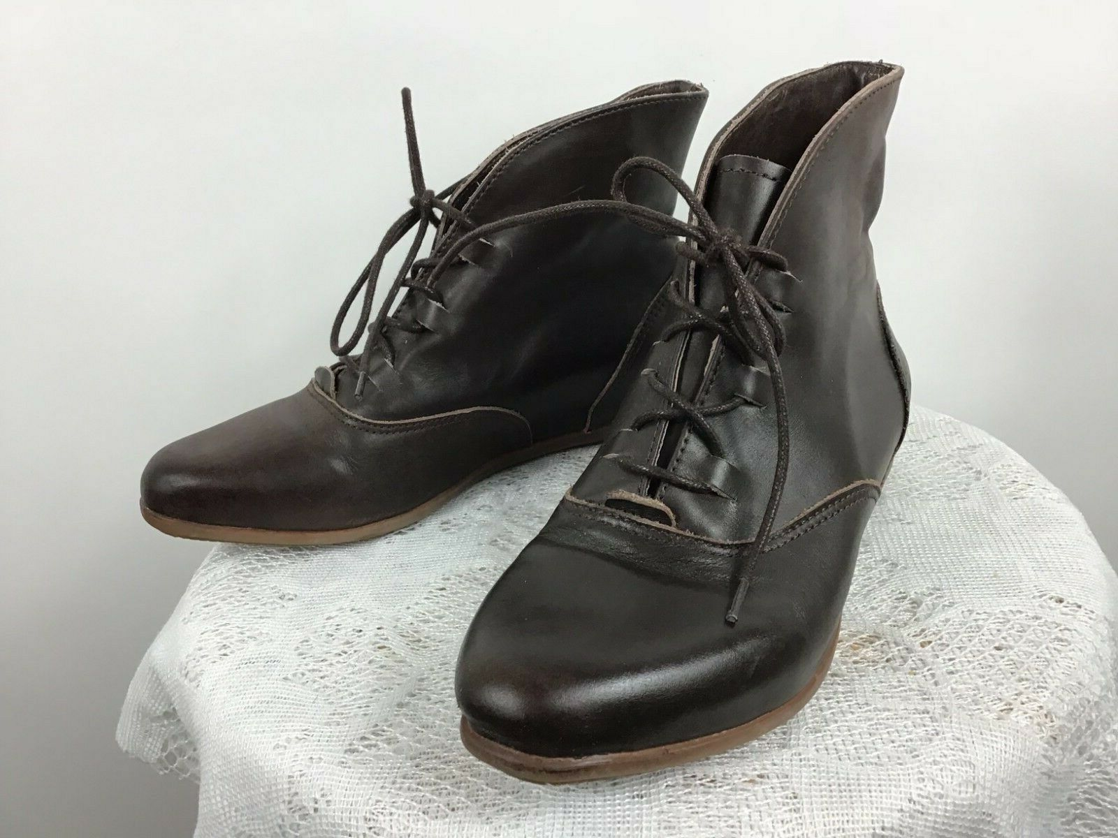 El Naturalista Women's Brown Leather Lace Up Ankle Boots Size 37 US 6.5