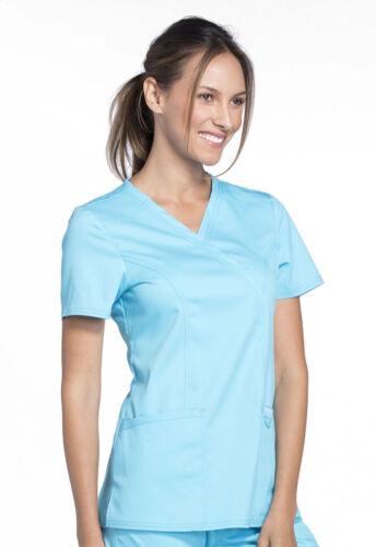 Cherokee Workwear Scrubs Mock Wrap Top WW610 TRQ Turquoise Free Shipping