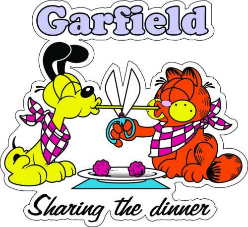 "Garfield Odie Sharing Dinner wall decor bumper sticker vinyl decal 5/""x 5.5/"""
