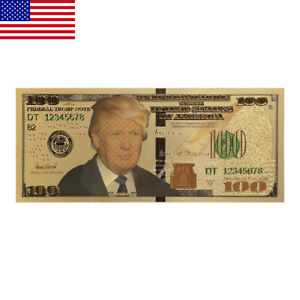 US-President-Donald-Trump-New-Colorized-100-Dollar-Bill-Gold-Foil-Banknote-ON