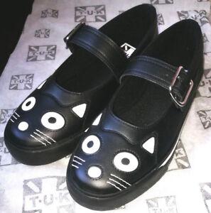 pretty nice 7aa16 093a5 T.U.K. A6467 Tuk Shoes Schuhe Katze Katzengesicht Mary Jane ...