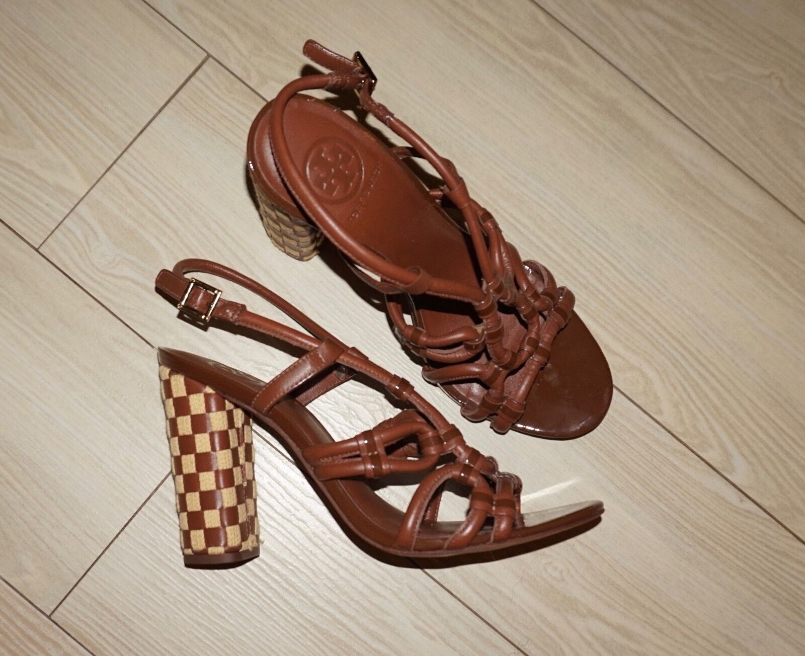 NEW Womens TORY BURCH Layce Heels Strappy Sandals Brown Leather Leather Leather Woven Heel 9 f55f8b