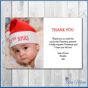 10 x THANK YOU PERSONALISED PHOTO CHRISTMAS FOR MY GIFTS  XMAS CARD ENVELOPES