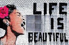 Fototapete Banksy Wandbild Life is beautiful Poster-Motiv by GREAT ART