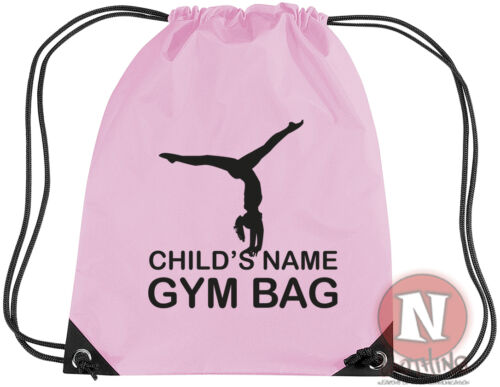 Drawstring gym PE school Personalised Gymnastics kit bag add child/'s name