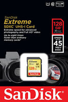 Sandisk 128gb Extreme Sdhc Sdxc Sd Class 10 45mb/s Uhs-i Memory Card Retail 128g