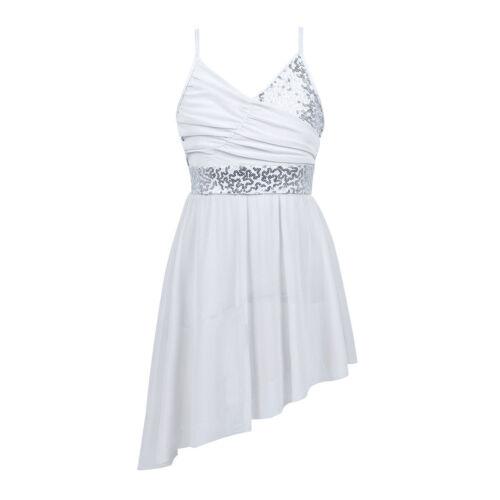 UK Girls Sequin Ballet Dance Lyrical Dress Leotard Gymnastics Ballroom Dancewear