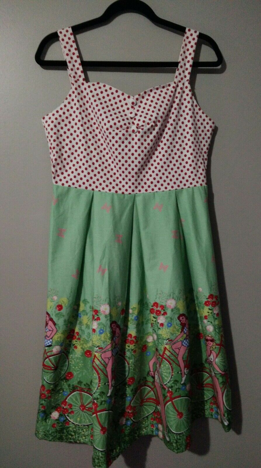 NWT SUCREFAS Green Red Dress Polka Dot Fit Fit Fit Flare Bicycle Novelty Print L 8 DD17 c95ff9