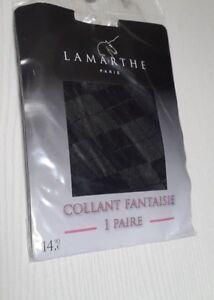 LAMARTHE-COLLANT-FANTAISIE-LOSANGE-PANTY-20-DENIERS-NOIR