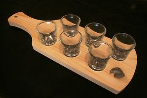 Hawk Head Wooden Paddle Set Of 6 Shot Glasses Falconry Gift Oobbooae-08004750-128894022