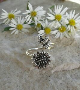 60e4bde43 Image is loading Sunflower-Ring-Solid-Sterling-Silver-Sunflower -Bumblebee-Spoon-