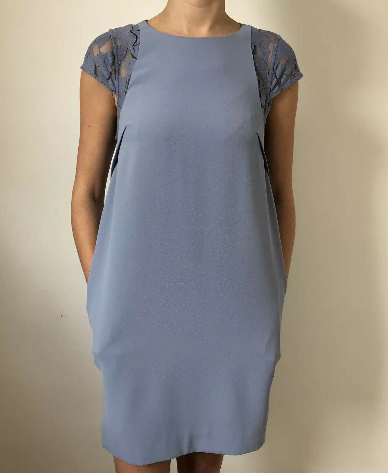 Women Reiss Dress Size 12 A Line bluee Lace Knee Length Line Sleeveless Round Nec