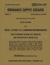 Military Jeep Parts Book Ford GPW Willys MB 1941-1945 ORDSNLG503 Master Catalog