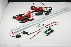 2x-50cm-36-LED-LIGHT-BARS-WITH-DIMMER-CABLE-jayco-caravan-camping-boat-tent