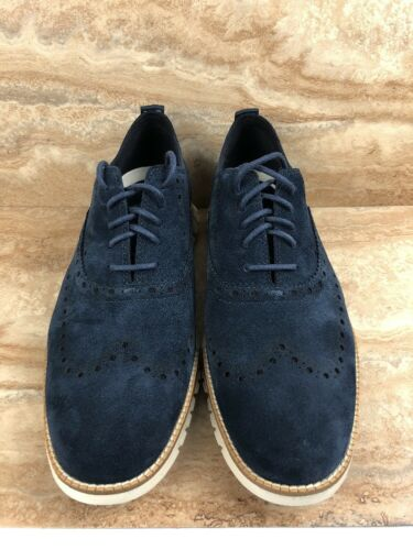 Cole Haan Zerogrand Wingtip Oxford Suede Shoes Navy Blue Tan