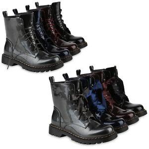 Damen-Stiefeletten-Worker-Boots-Metallic-Schnuerstiefel-Outdoor-816837-Schuhe