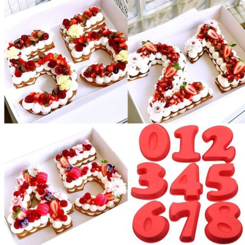 Small Large Silicone Number Cake Mould Birthday Anniversary 0 1 2 3 4 5 6 7 8 UK