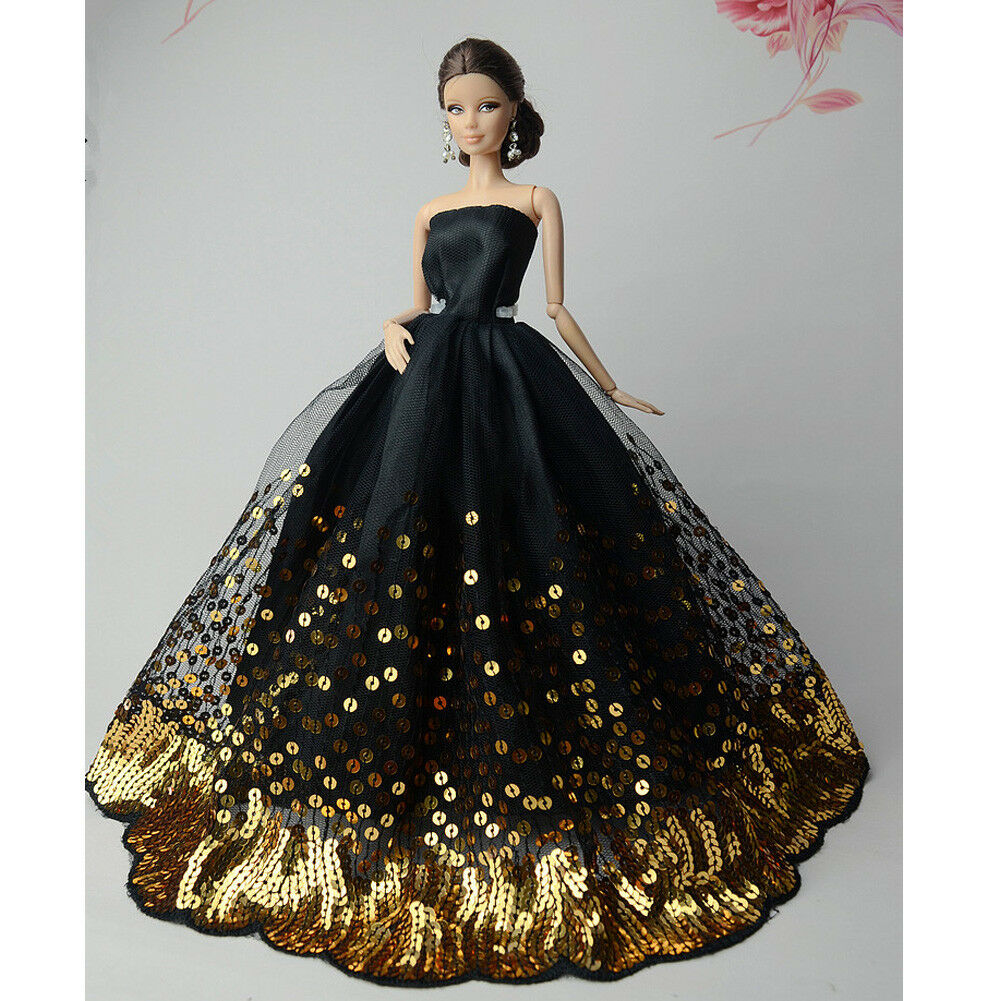 Black Wedding Gowns For Sale: Luxury Black Wedding Party Dress Gold Sequins Clothes