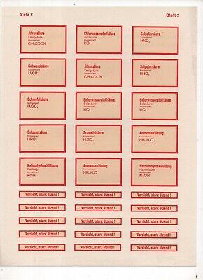 Abziehbilder A4 Satz 3 Blatt 2 Chemie Formeln vintage Schule alte Etiketten