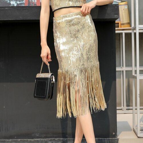 Women Tassel Sequin Skirt Fringe Slim Pencil Glitter Shiny Dance Midi Spakly