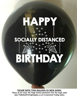 10 HAPPY SOCIALLY DISTANCED BIRTHDAY BALLOONS Adult Child Balloon Party Colours