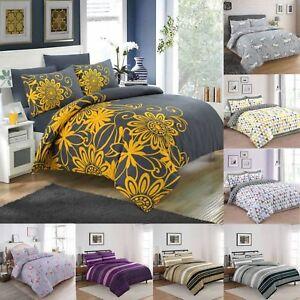 Adam-Home-Nouveau-Design-Imprime-de-couette-couette-avec-taies-d-039-oreiller-Ensemble-De-Literie