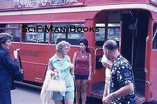 35mm Vintage Slide Hawaii Honolulu Double Decker Bus Pretty Sexy Tour Guide 1974