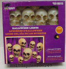 Gemmy Battery Operated Spooky Halloween 10 Flashing Amber Skull Light String NEW
