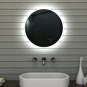badezimmerspiegel badspiegel wandspiegel led beleuchtung rund 60cm mle6602 ebay. Black Bedroom Furniture Sets. Home Design Ideas