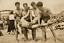 Vintage 5 BOYS AT THE BEACH Fooling Around 1940/'s Photo 4x6 Sepia Reprint