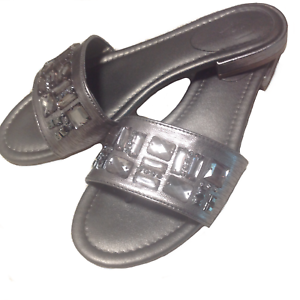VERA-WANG-Women-039-s-Thong-Sandals-Size-8-Pewter-Hellen-Jeweled-Medium-Simply-Shoes