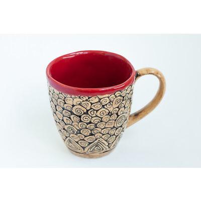 Crimson Ceramic Mug with Swirls Handmade