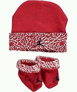 9731eb45ad1 Nike Air Jordan Girls or Boys Infant Hat   Booties Red Set Size 0 ...