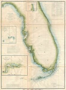 Details about 1855 Coastal Survey map Nautical Chart of Florida